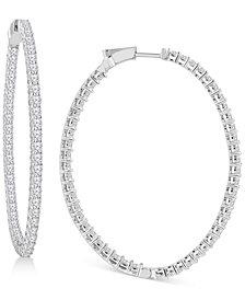"Diamond Large In & Out Hoop Earrings (9 ct. t.w.) in 14k White Gold, 2.51"""