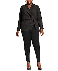 Trendy Plus Size Swagger Twist-Front Blouse