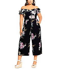 Trendy Plus Size Love Blooms Off-The-Shoulder Jumpsuit