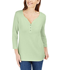 Petite Cotton 3/4-Sleeve Henley Top, Created For Macy's