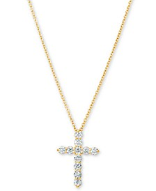 "Diamond Cross Pendant Necklace (1/2 ct. t.w.) in 14k Gold, 16"" + 2"" Extender"