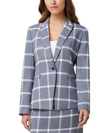Plaid Zip-Detail Blazer