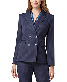 Pinstripe Double-Breasted Suit Blazer