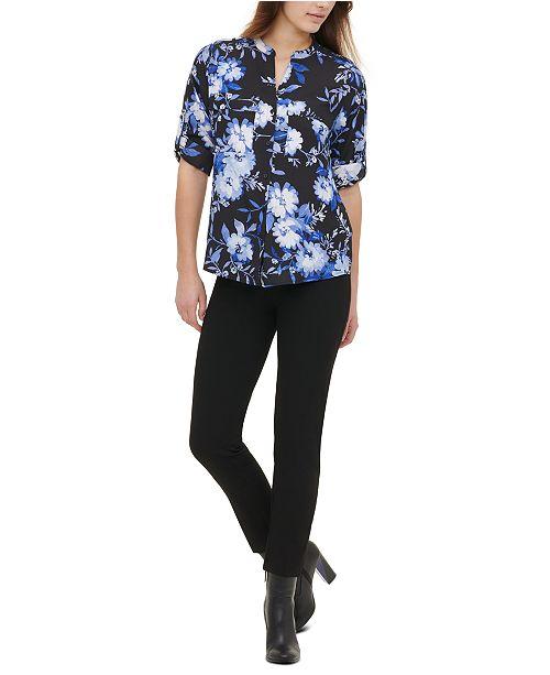 Calvin Klein Split-Neck Floral-Print Top