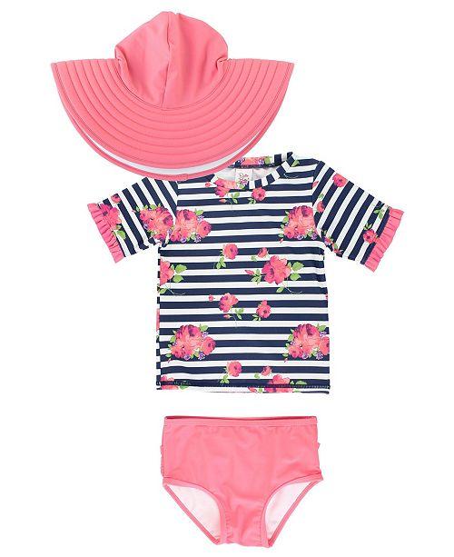 RuffleButts Baby Girls Ruffled Rash Guard Bikini Swimsuit Swim Hat Set, 2 Piece