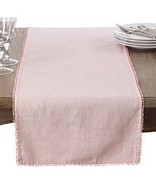 Pom Pom Design Linen Dining Room Table Runner