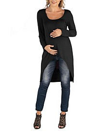 Long Sleeve High Low Rounded Hemline Maternity Tunic Top