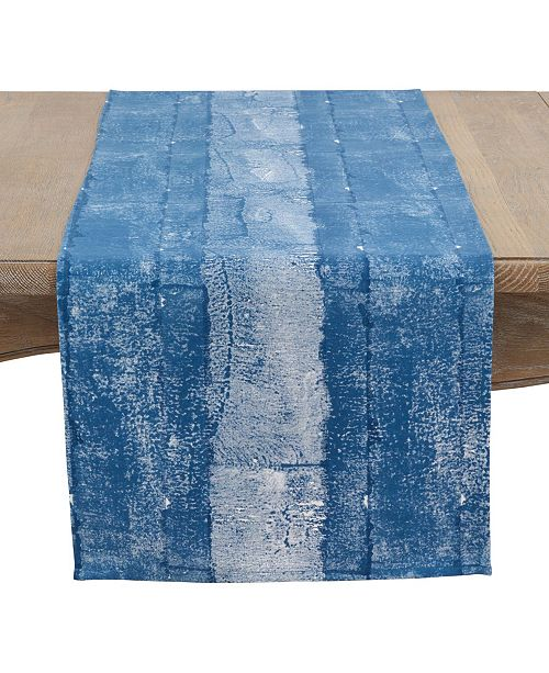 Saro Lifestyle Hand Blocked Cotton Brushed Table Runner