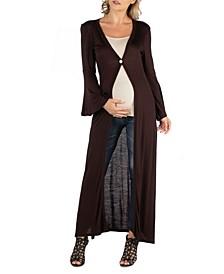 Women's Long Sleeve Maxi Length Maternity Cardigan