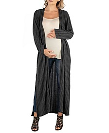 Long Open Front Maxi Length Maternity Cardigan
