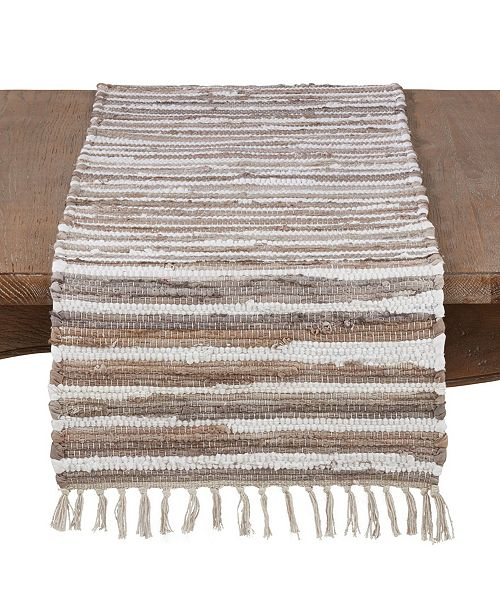 Saro Lifestyle 100% Cotton Tasseled Runner with Chindi Pattern
