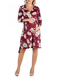 Collared Burgundy Floral Print Maternity Wrap Dress