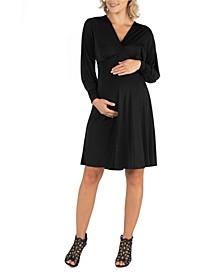 Long Sleeve V-Neck Maternity Cocktail Dress