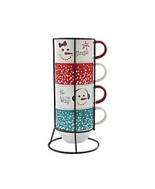 Jingle 5 Piece Mug Set w/ Metal Rack