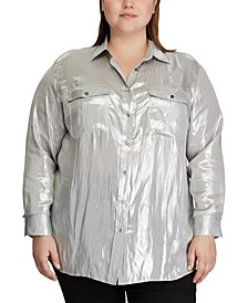 Plus Size Metallic Patch Pocket Shirt
