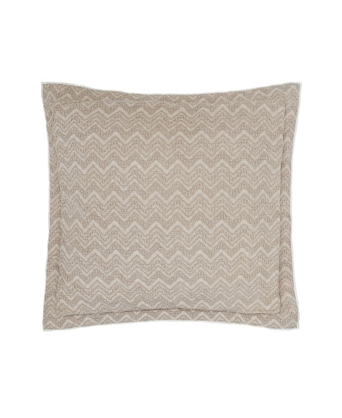 Croscill - The Grace European Sham by  showcases an abstract chevron design in neutral beige waffle-woven cotton fabric for a textured feel.  Reverses to the same biege and finished with flanged edges. Sham excludes stuffer.