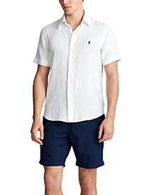 Men's Short-Sleeve Linen Button-Up