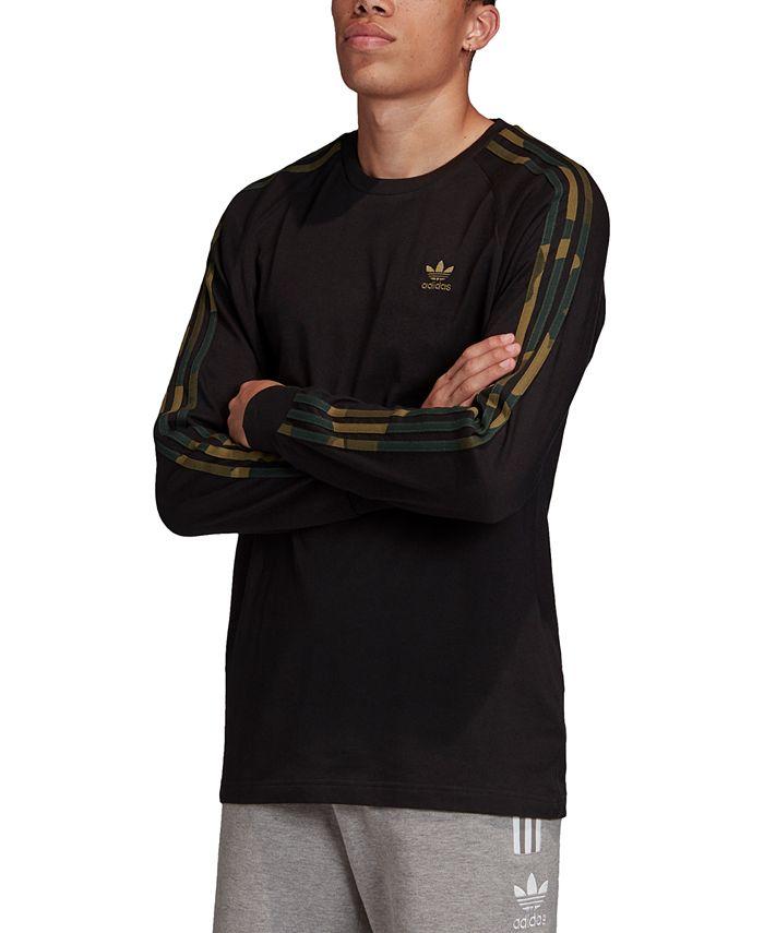 adidas adidas Men's Originals Camo 3 Stripes Long-Sleeve T-Shirt ...