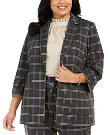 Plus Size Plaid Roll-Tab Blazer