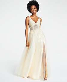 Juniors' Embellished Illusion Gown