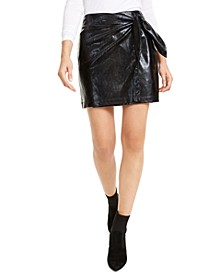 Snake-Embossed Mini Skirt