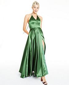 Blondies Nites Side-Slit Halter Gown