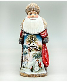 Woodcarved First Day of Winter Santa Figurine