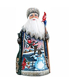 Woodcarved and Hand Painted Santa Happy Snowman Figurine