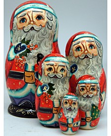 5-Piece Birdy Santa Russian Matryoshka Nested Doll Set