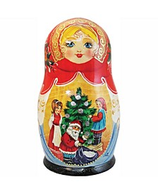 Christmas Night 5-Piece Russian Matryoshka Wooden Nested Dolls Set