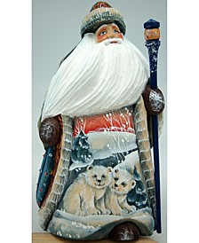 Woodcarved and Hand Painted Polar Bears and Hand Painted Santa
