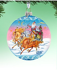 Limited Edition Oversized Sleigh Ride Ball Glass Ornament