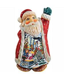 Scenic Santa with Train Scene Figurine