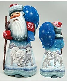 Woodcarved and Hand Painted Polar Bears Santa Figurine