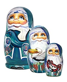 Mr. Santa of The Sea 3-Piece Russian Matryoshka Stacking Dolls Set