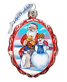 Gift Giving with Snowman Santa Glass Ornament