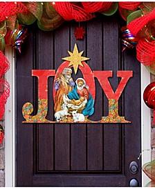 Regal Joy Nativity Wooden Christmas Door Hanger