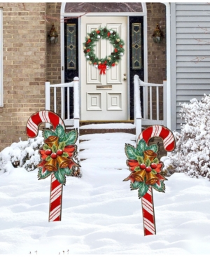 Designocracy Christmas Candy Cane Yard Lawn Holiday Wooden Free Standing Outdoor Decoration