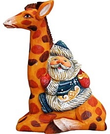 Santa On Giraffe Ornament
