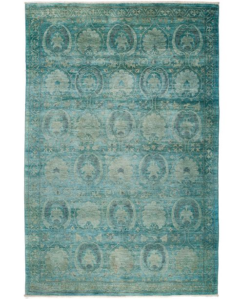 """Timeless Rug Designs One of a Kind OOAK26 Teal 6'1"""" x 9'1"""" Area Rug"""