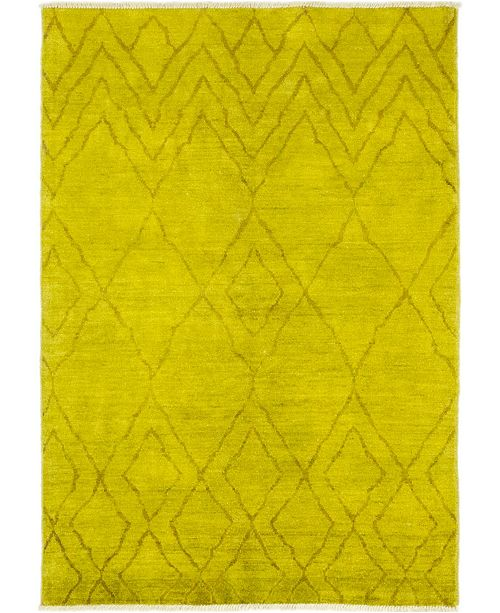 "Timeless Rug Designs CLOSEOUT! One of a Kind OOAK141 Yellow 6'4"" x 9' Area Rug"