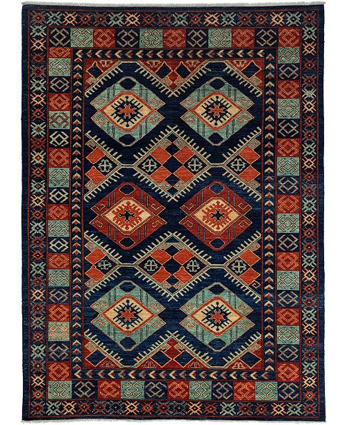 """Timeless Rug Designs CLOSEOUT! One of a Kind OOAK3503 Navy 6'2"""" x 8'5"""" Area Rug"""