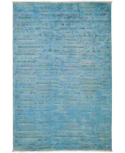 "Timeless Rug Designs One of a Kind OOAK3302 Turquoise 6'2"" x 9'5"" Area Rug"