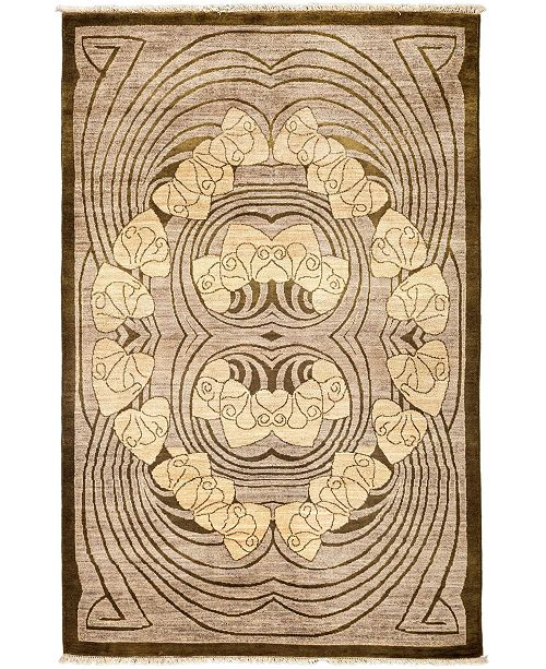 "Timeless Rug Designs CLOSEOUT! One of a Kind OOAK3305 Mocha 4'1"" x 6'3"" Area Rug"
