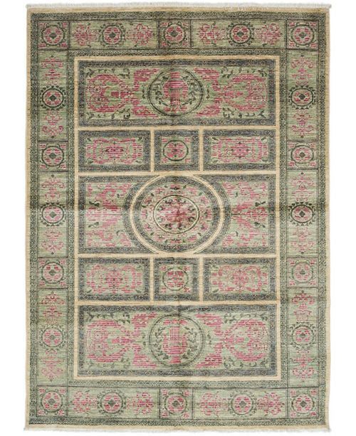 "Timeless Rug Designs CLOSEOUT! One of a Kind OOAK3271 Red 5' x 7'3"" Area Rug"
