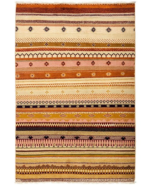 """Timeless Rug Designs CLOSEOUT! One of a Kind OOAK3061 Caramel 4'1"""" x 6' Area Rug"""
