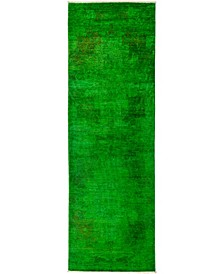 """CLOSEOUT! One of a Kind OOAK2958 Green 3' x 8'10"""" Runner Rug"""