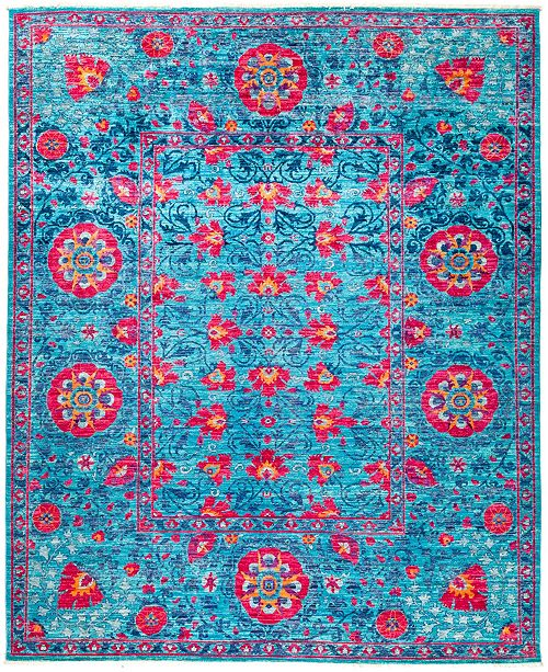 """Timeless Rug Designs CLOSEOUT! One of a Kind OOAK25 Turquoise 8'1"""" x 9'9"""" Area Rug"""