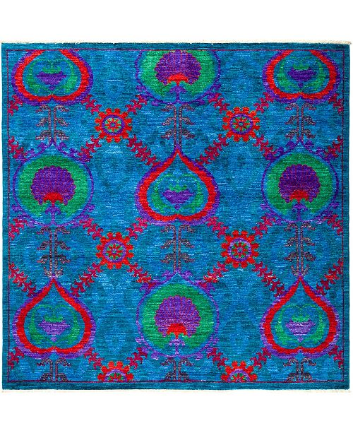 """Timeless Rug Designs CLOSEOUT! One of a Kind OOAK2877 Turquoise 6'1"""" x 6'2"""" Area Rug"""