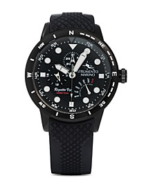 Men's Regatta VIP Day Retrograde Black Silicone Performance Timepiece 46mm
